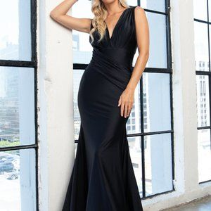 V-Neck Satin Mermaid Shape Prom Dress AC370